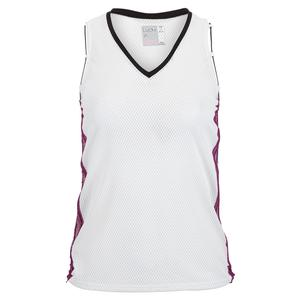 Women`s Back Me Up Tennis Tank White and Black