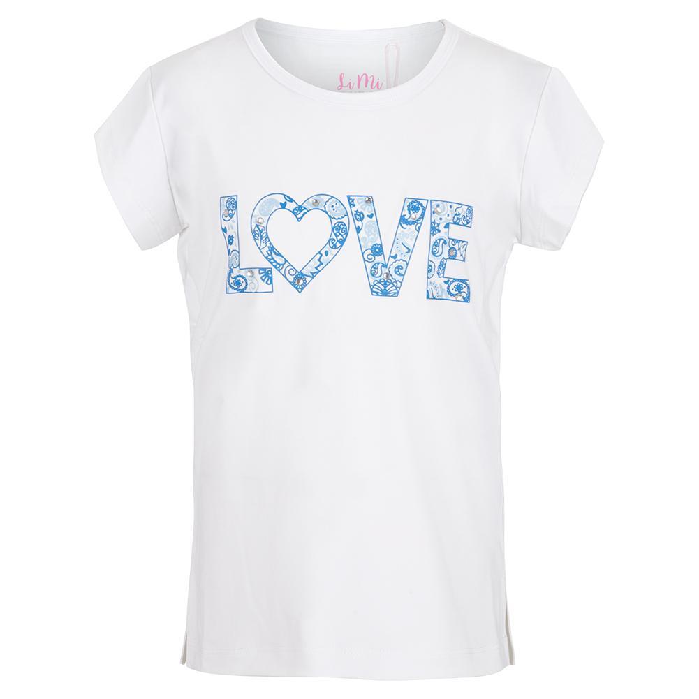 Girls ` Love Bling Short Sleeve Tennis Top White