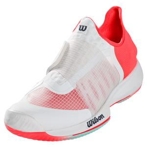 Women`s Kaos Mirage Tennis Shoes White and Fiery Coral