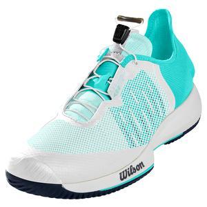 Women`s Kaos Rapide Tennis Shoes White and Aruba Blue