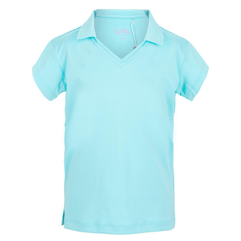 Girls'short Sleeve V- Neck Tennis Polo Blue