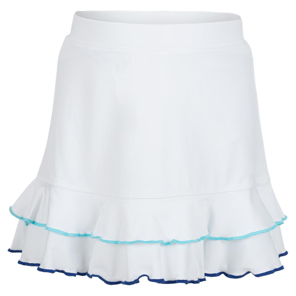 Girls ` Two Ruffle Trim Tennis Skort White And Blue Trim