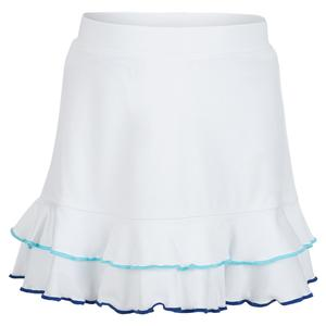 Girls` Two Ruffle Trim Tennis Skort White and Blue Trim