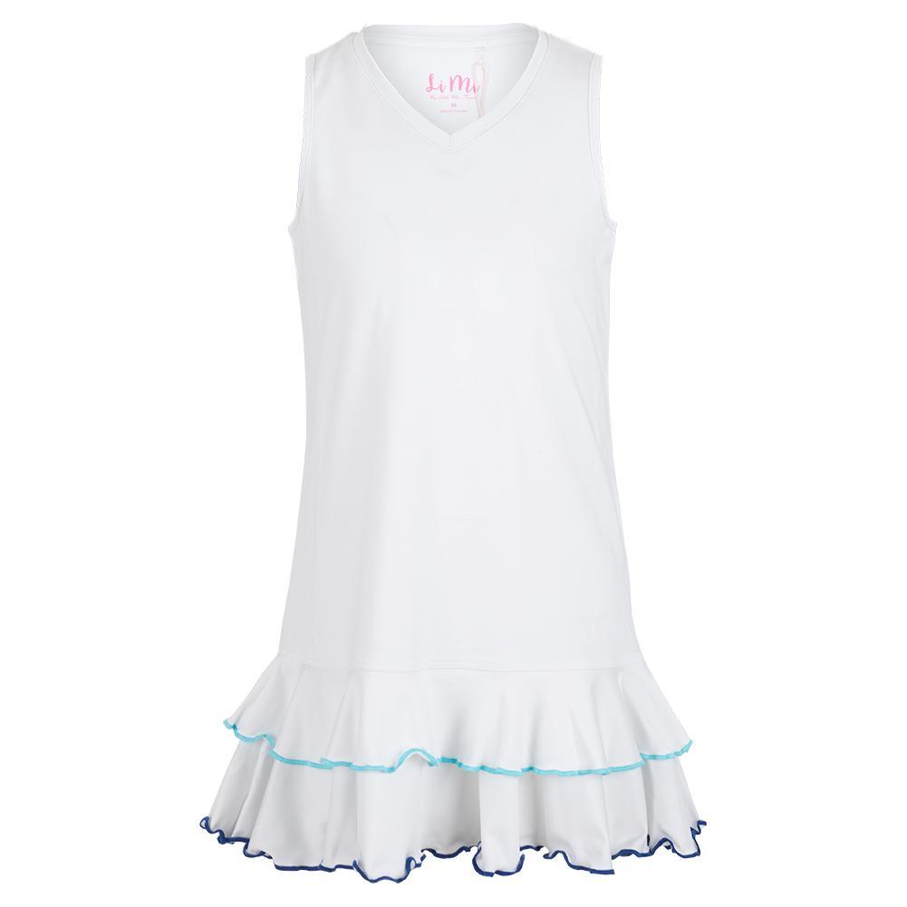 Girls ` Two Ruffle Trim Tennis Dress White And Blue