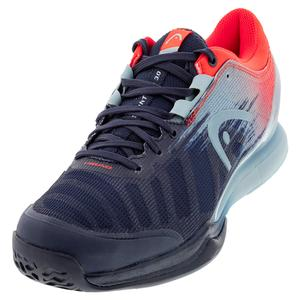 Men`s Sprint Pro 3.0 Tennis Shoes Dress Blue and Neon Red