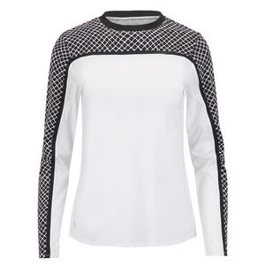 Women`s Carya Short Sleeve Tennis Top Chalk and Diamond Trail
