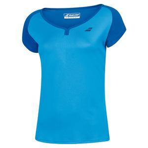 Girls` Play Cap Sleeve Tennis Top Blue Aster