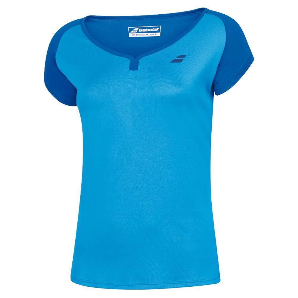 Women's Play Cap Sleeve Tennis Top Blue Aster