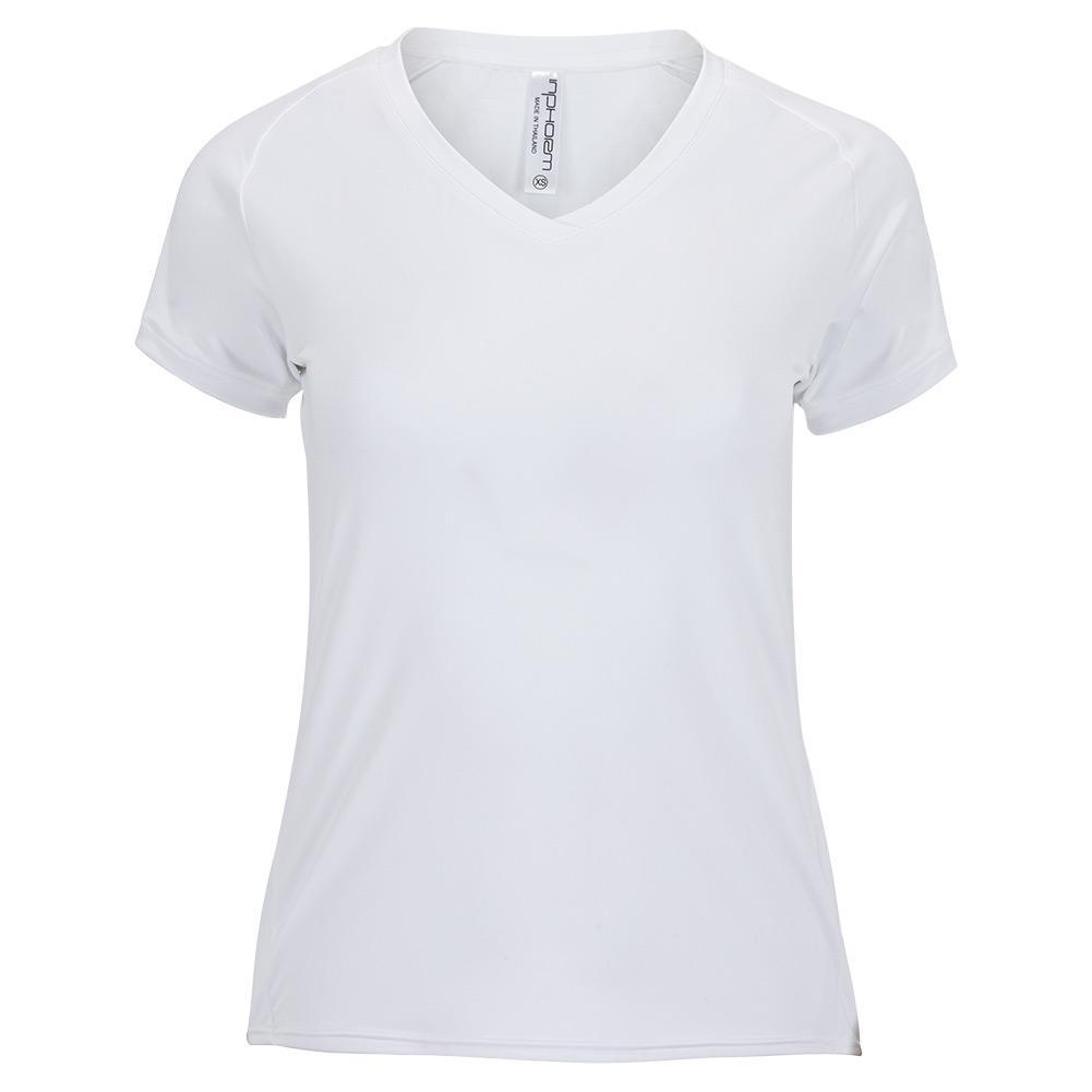 Women's Classic Short Sleeve V- Neck Tennis Top White