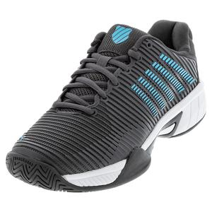 Juniors` Hypercourt Express 2 Tennis Shoes Dark Shadow and Scuba Blue