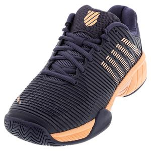 Juniors` Hypercourt Express 2 Tennis Shoes Graystone and Peach Nectar