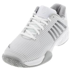 Juniors` Hypercourt Express 2 Tennis Shoes Barely Blue and White