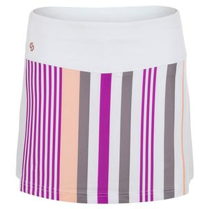 Women`s Violet Dreams Tennis Skort White and Cactus Flower Stripes