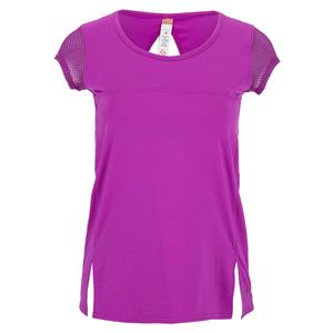 Women`s Violet Dreams Cap Sleeve Tennis Top Cactus Flower