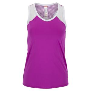 Women`s Violet Dreams Racerback Tennis Tank Cactus Flower and White