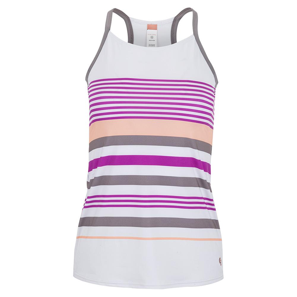 Women's Violet Dreams Racerback Tennis Tank White And Cactus Flower Stripes