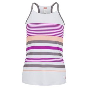 Women`s Violet Dreams Racerback Tennis Tank White and Cactus Flower Stripes
