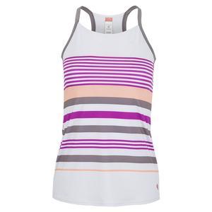 Women`s Violet Dreams Racerback Tennis Tank White and Cactus Flower Stripes