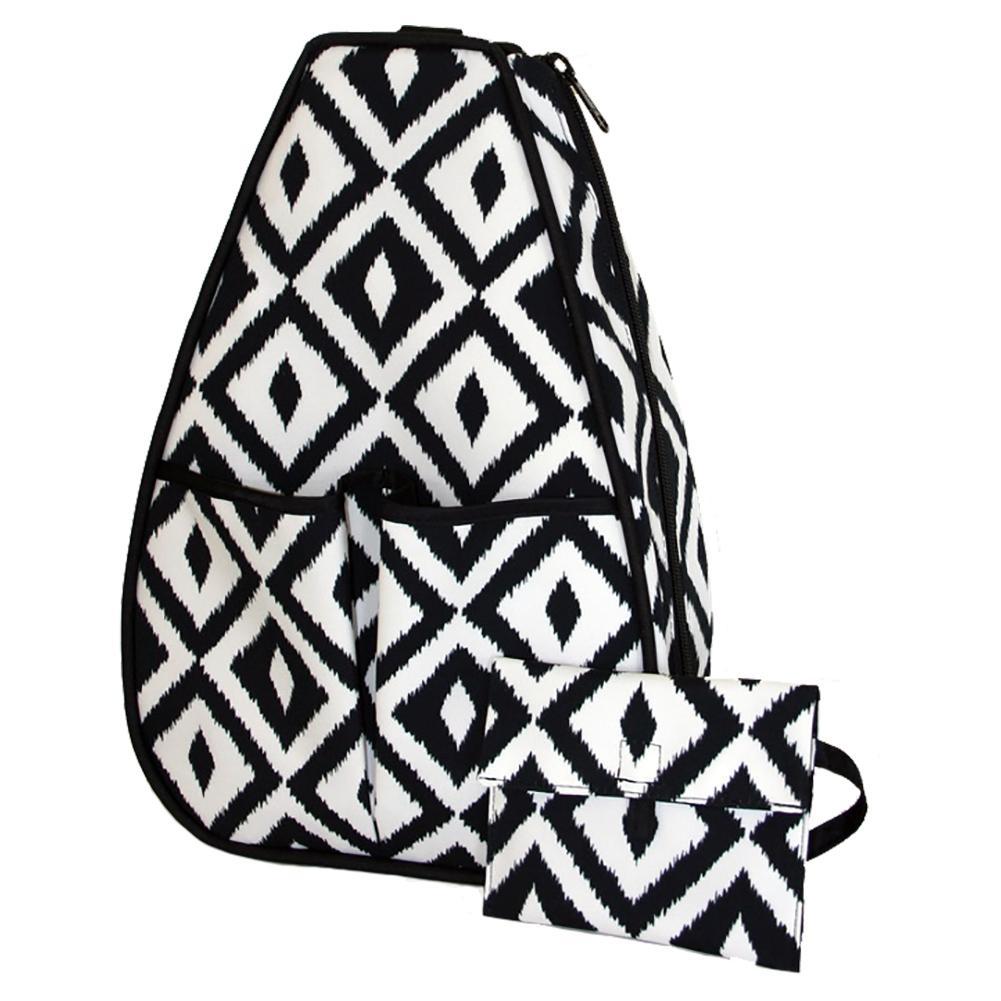 Women's Sophi Tennis Backpack Black And White Ikat