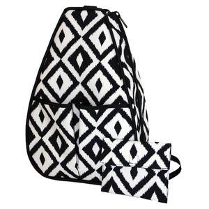 Women`s Sophi Tennis Backpack Black and White Ikat
