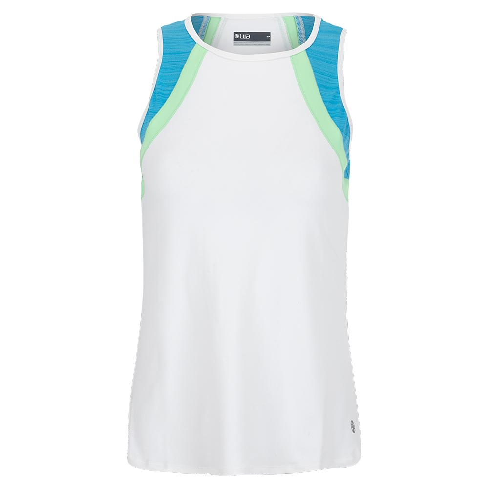 Women's Bea Tennis Tank White And Surf Blue