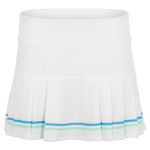 Women`s Club Tennis Skort White and Surf Blue