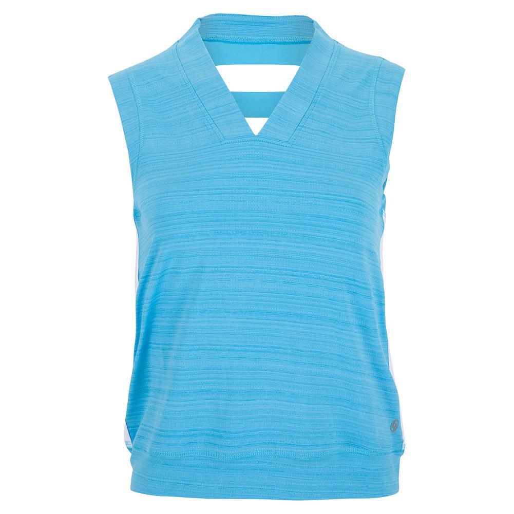 Women's Crop Tennis Tank Surf Blue And White