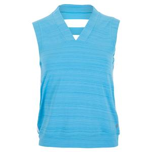 Women`s Crop Tennis Tank Surf Blue and White