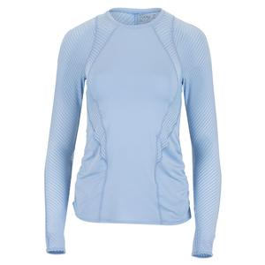 Women`s Shadow Stripe Contour Long Sleeve Tennis Crew Cloud