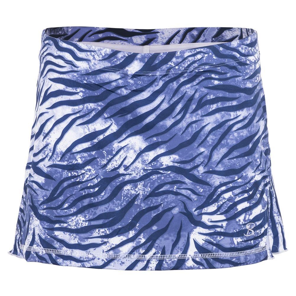 Women's 13 Inch Tennis Skort Blue Zebra