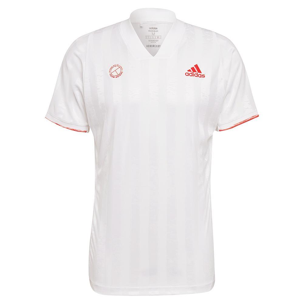 Men's Freelift Eng Tennis Top White And Scarlet