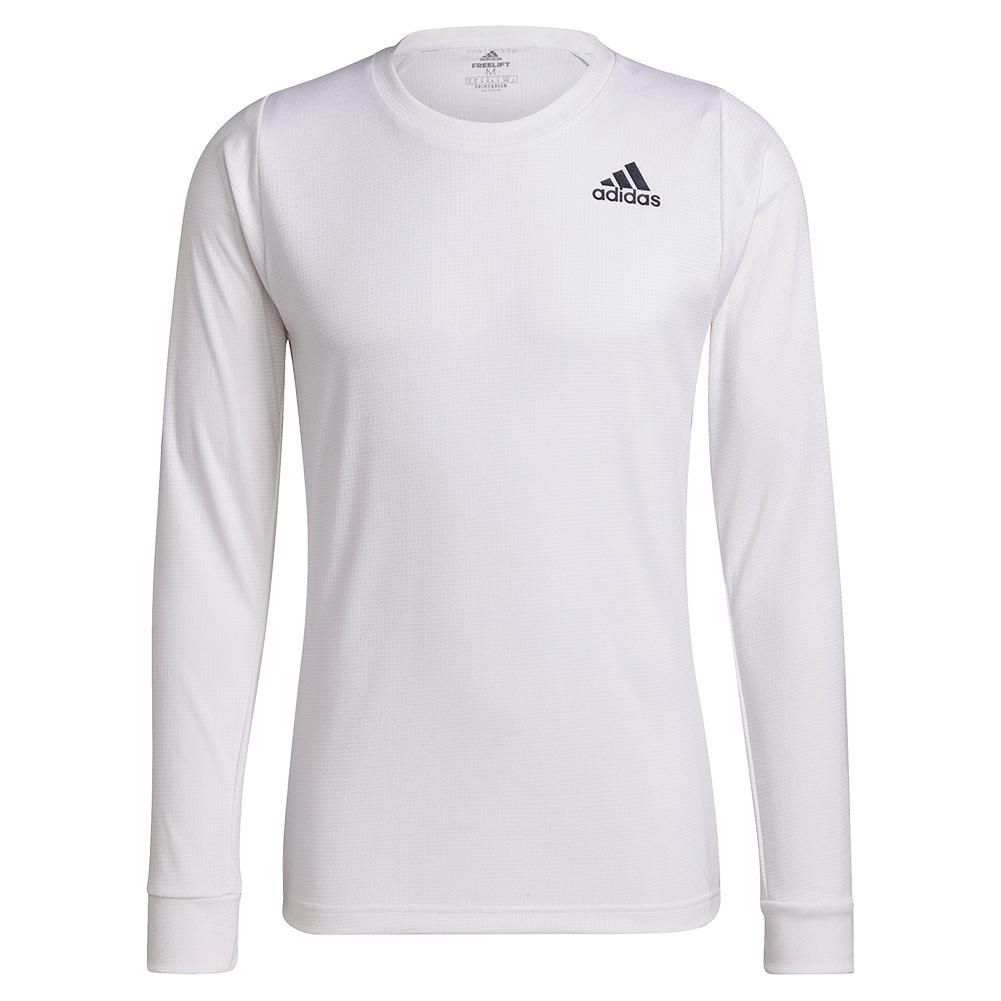 Men's Freelift Long Sleeve Tennis Top White And Black