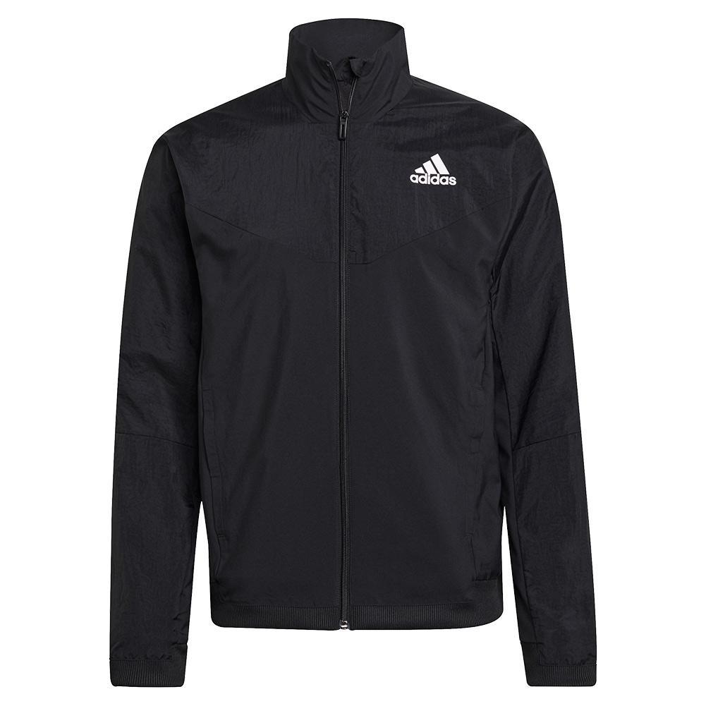 Men's Warm Woven Tennis Jacket Black And White