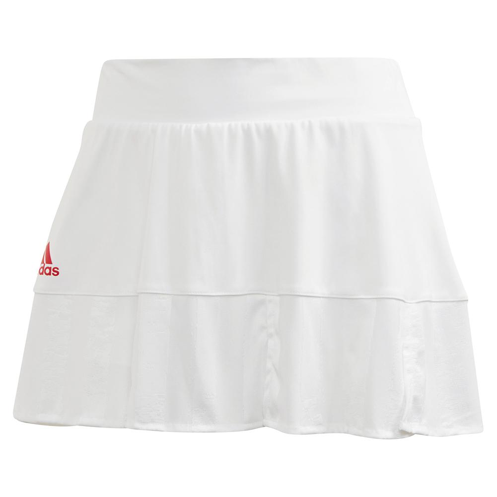 Women's Two Match Eng 13 Inch Tennis Skort White And Scarlet