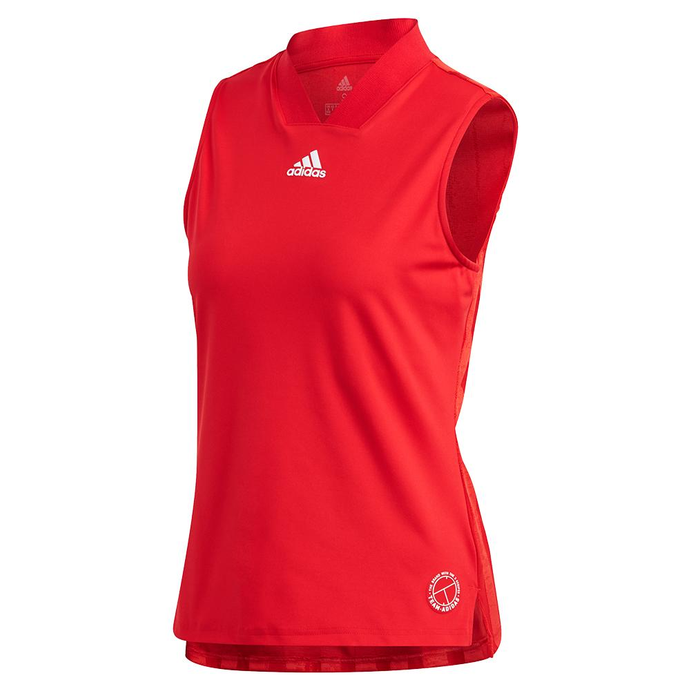 Women's Two Match Eng Tennis Tank Scarlet And Signal Pink