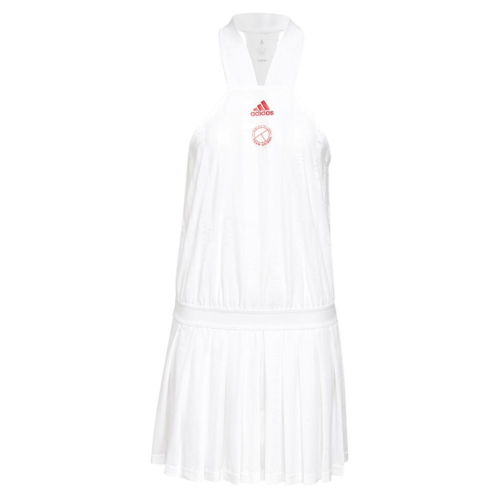 Women's All- In- One Tennis Dress White And Scarlet