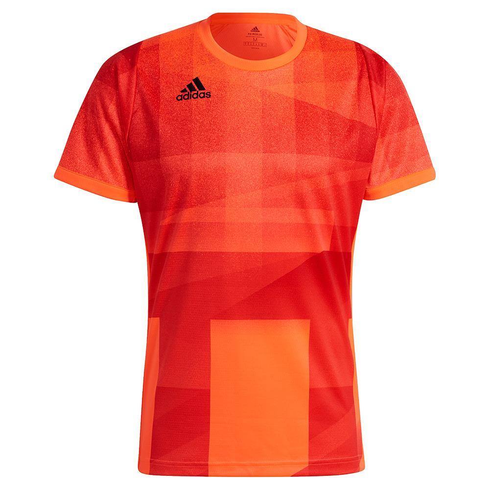 Men's Primeblue Heat.Rdy Freelift Tokyo Tennis Top App Solar Red And Black
