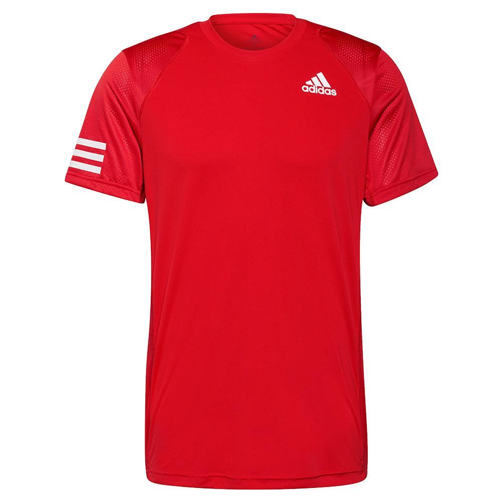 Men's Club 3- Stripe Tennis Top Vivid Red And White