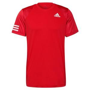 Men`s Club 3-Stripe Tennis Top Vivid Red and White