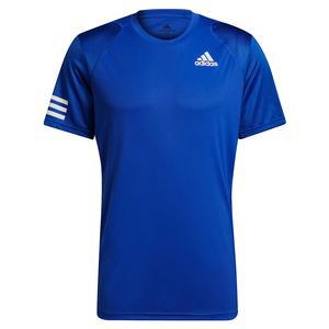 Men`s Club 3-Stripe Tennis Top Bold Blue and White