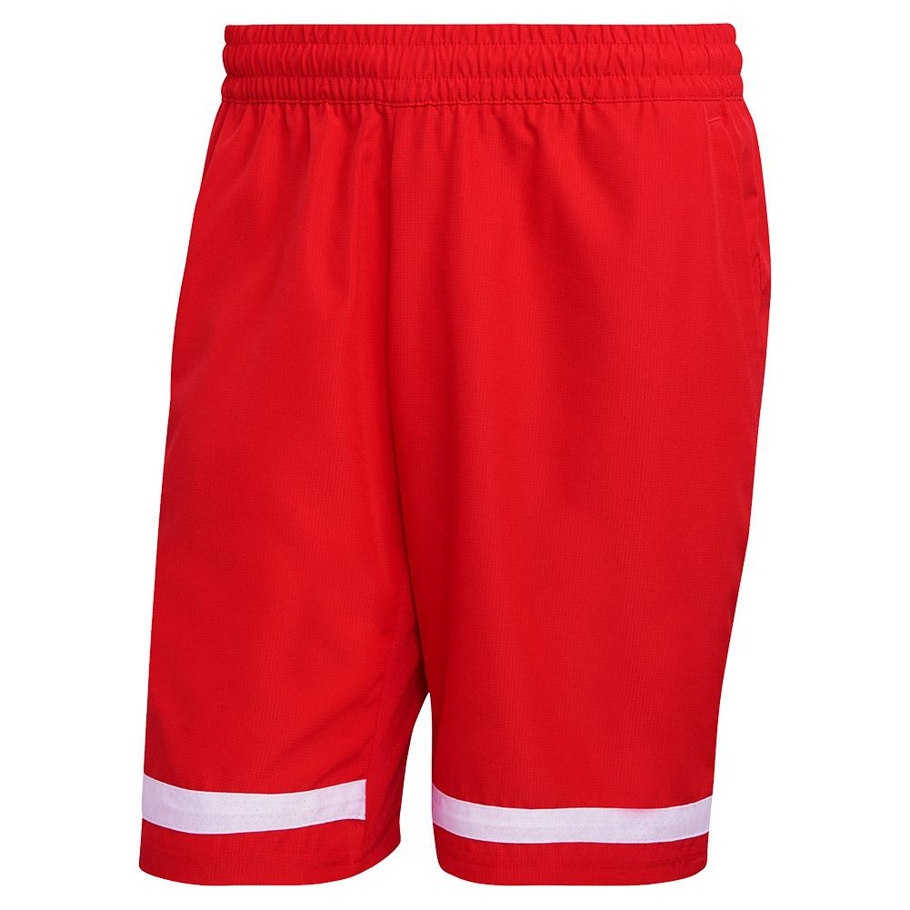 Men's Club 9 Inch Tennis Short Vivid Red And White