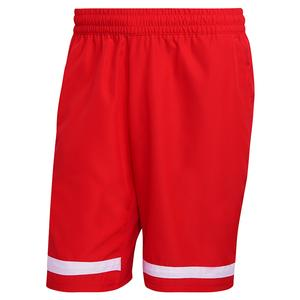 Men`s Club 9 Inch Tennis Short Vivid Red and White