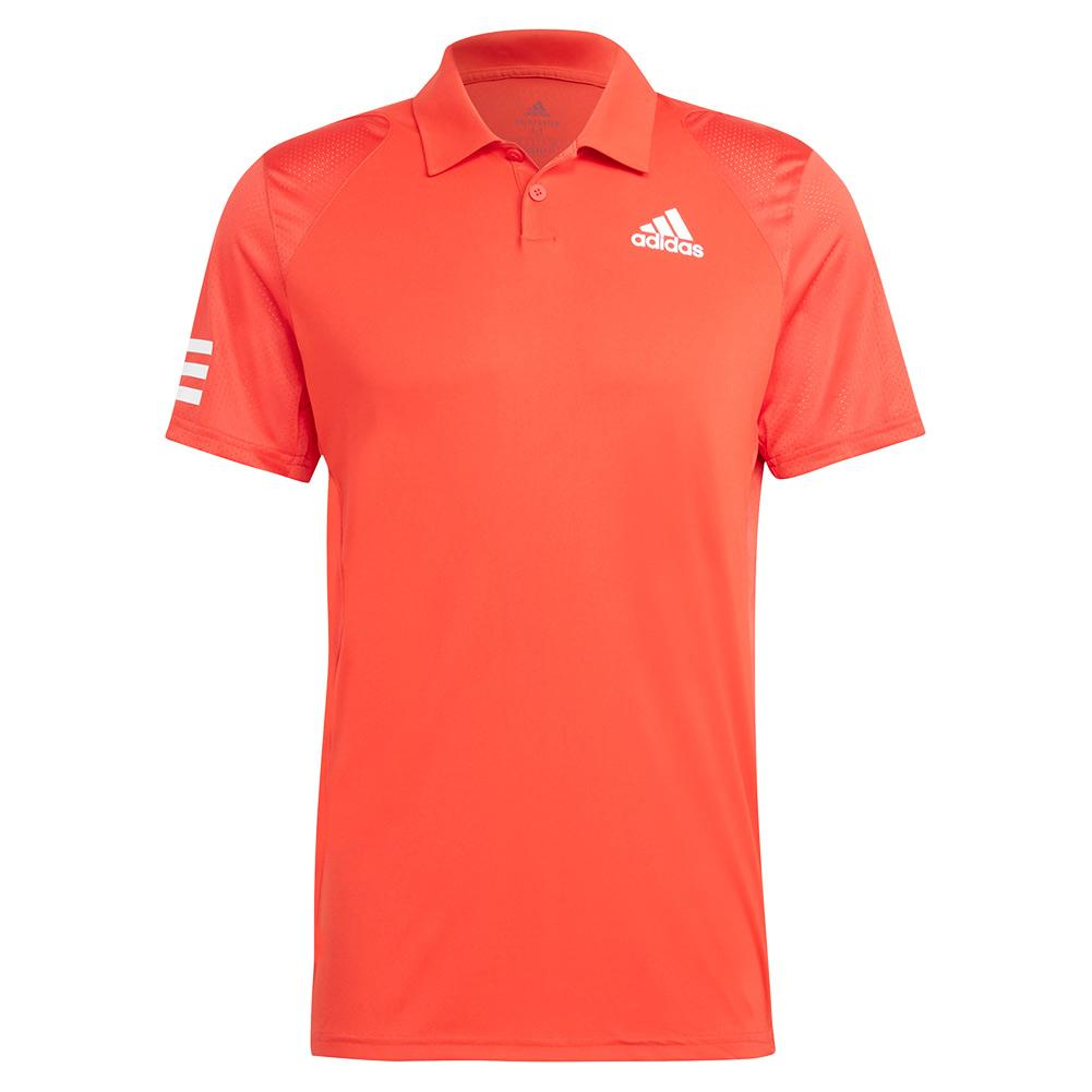 Men's Club 3- Stripe Tennis Polo Vivid Red And White
