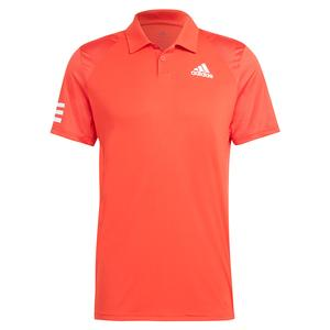 Men`s Club 3-Stripe Tennis Polo Vivid Red and White