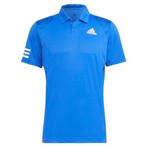 Men`s Club 3-Stripe Tennis Polo Bold Blue and White