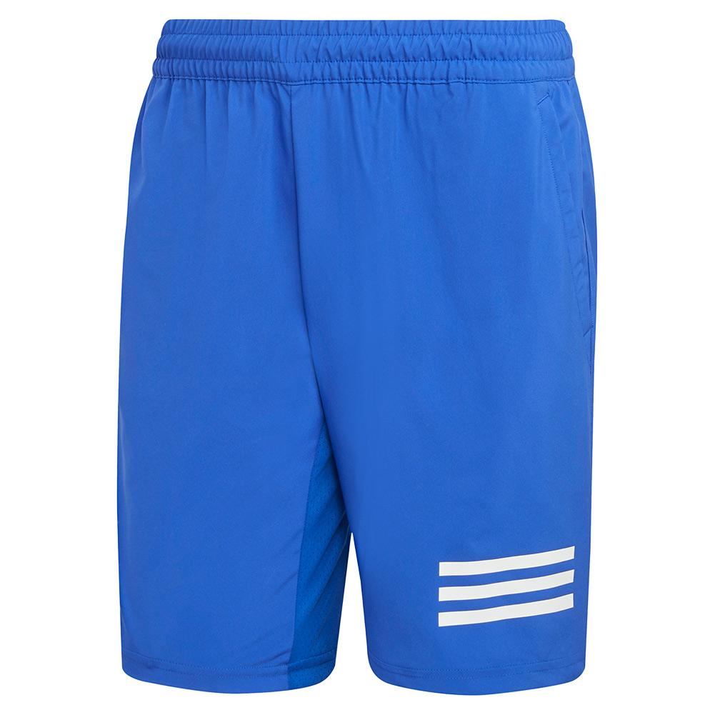Men's Club 3- Stripe 9 Inch Tennis Short Bold Blue And White