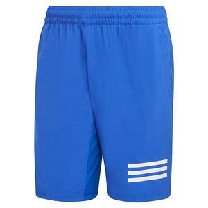 Men`s Club 3-Stripe 9 Inch Tennis Short Bold Blue and White