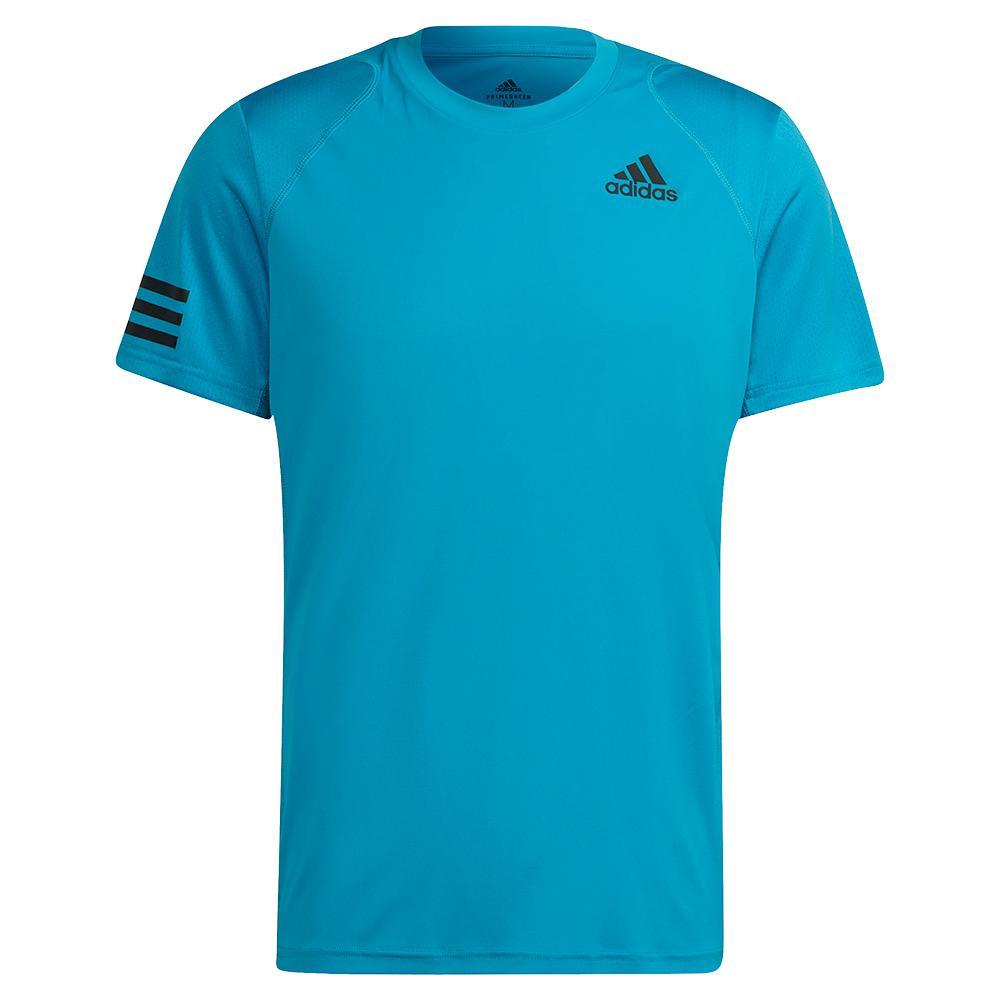 Men's Club 3- Stripe Tennis Top Sonic Aqua And Black