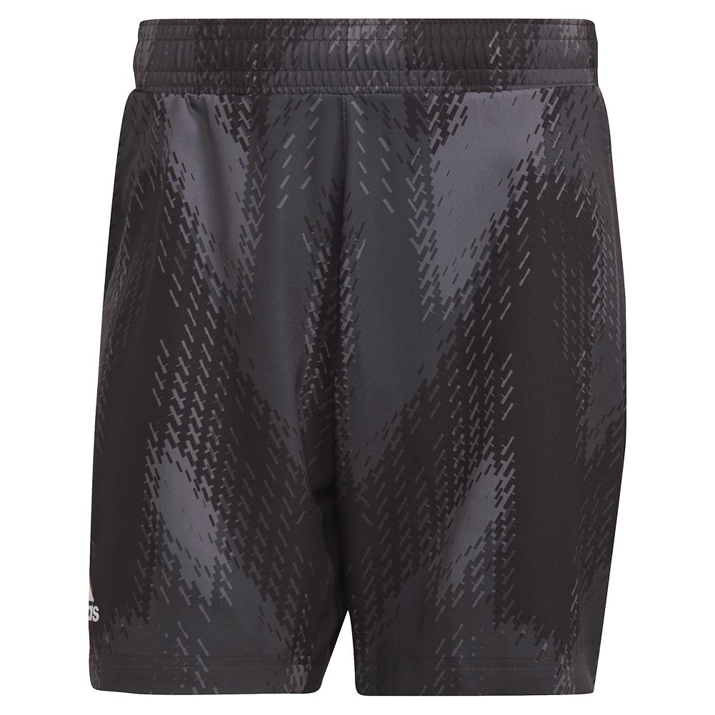 Men's Primeblue Printed 7 Inch Tennis Short Grey Five And Black