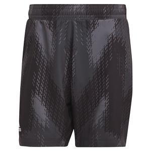 Men`s Primeblue Printed 7 Inch Tennis Short Grey Five and Black